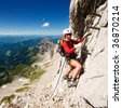 girl climbing mountains - stock photo