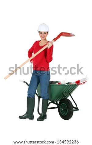 Girl construction worker - stock photo