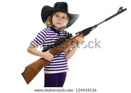 Girl cowboy in a black hat with a weapon on a white background. - stock photo