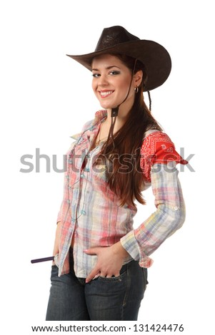 girl cowboy isolated on a white background