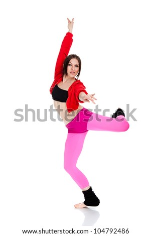 girl dancing hip-hop, modern dance, break dancing, wearing red and black sportswear clothing, studio series, isolated over white background. series photo - stock photo