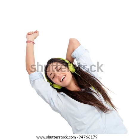 Girl dancing to the beat with headphones.Isolated. - stock photo