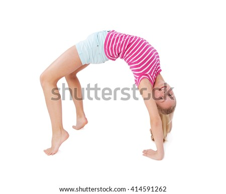 girl doing fitness exercises isolated on white
