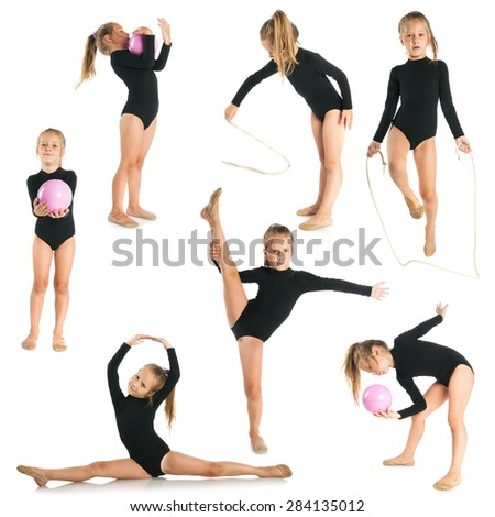 Girl doing gymnastic exercises, fitness set isolated on white background - stock photo