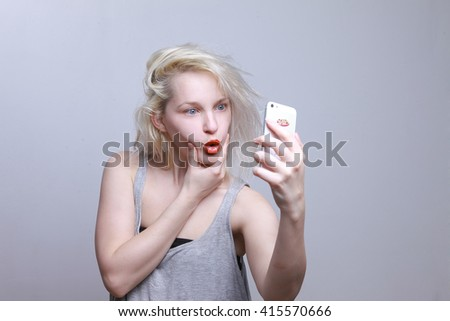 Girl doing selfie, crazy photos