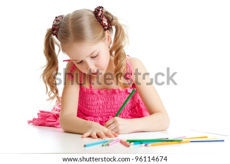 girl drawing a picture with color pencils - stock photo