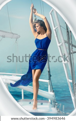 girl dress blue sea yacht - stock photo