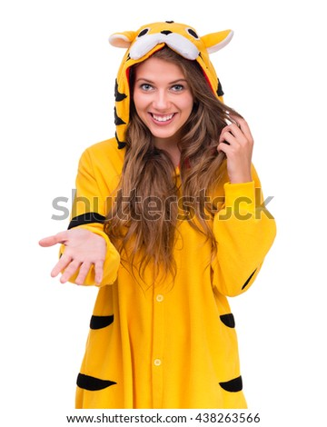 Girl dressed as a tiger with copyspace - stock photo