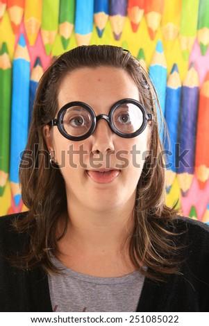 girl dressed like a geek - stock photo