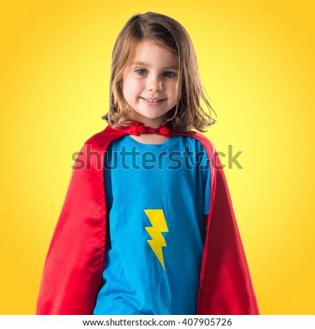 Girl dressed like superhero - stock photo