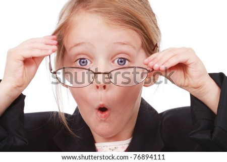 Girl dressed up as a business woman - stock photo
