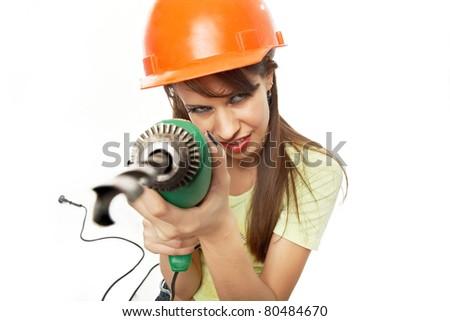 Girl drills - stock photo