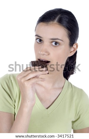girl eat chocolate