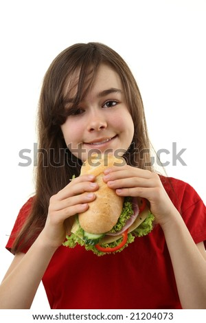 Girl eating healthy sandwich isolated on white - stock photo