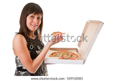 Girl eats a pizza isolated on a white background - stock photo