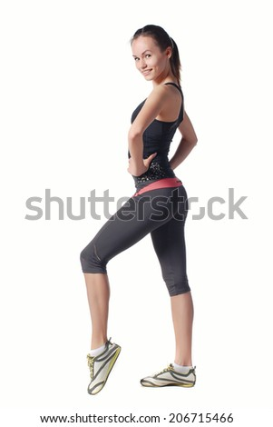 Girl engaged in fitness. Isolated on white. - stock photo