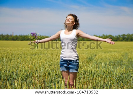 Girl enjoying in the nature and fresh air. - stock photo