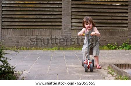 Girl enjoys outdoor activity - stock photo