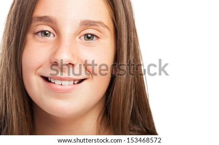 girl face close up on a white background