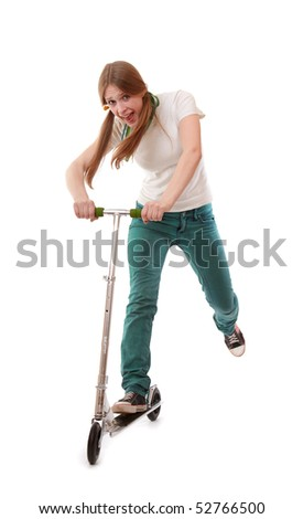 girl falls from the scooter, isolated on white background
