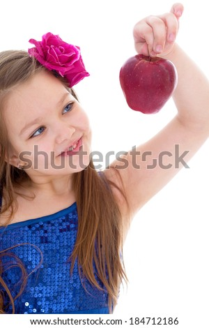 girl, fashion, apple and rose- little girl with braided hair and rose red apple. isolated on white background.