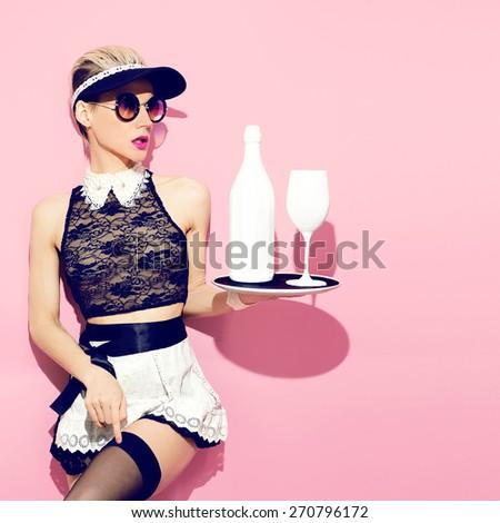 Girl fashion servants. Style Waitress - stock photo