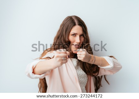 girl fights - stock photo