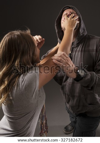 GIRL FIGHTS BACK SELF DEFENSE | A young woman fights off an attacker.  Refuse to be a victim.  
