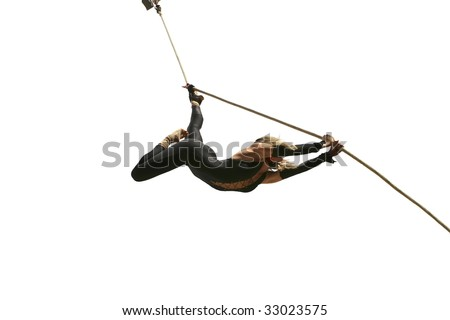 girl fly on ropes during street performing