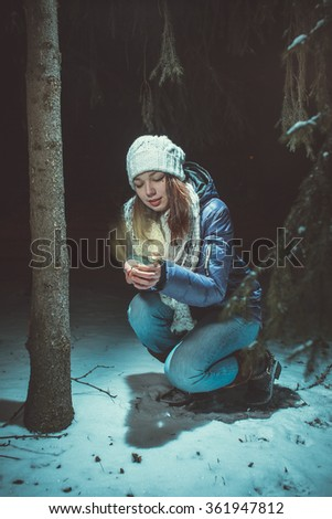 Girl found in winter Park - stock photo