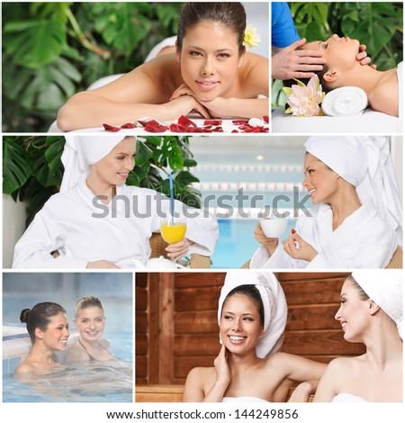 Girl friends having fun at spa - stock photo