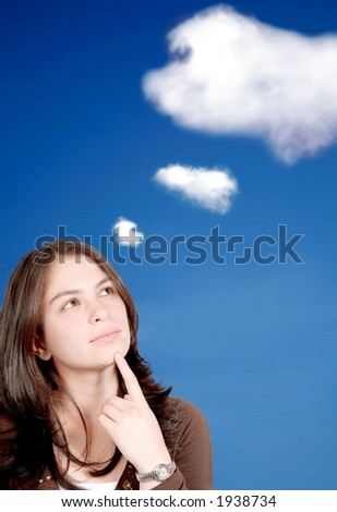 girl full of dreams with the sky in the background