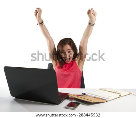 Girl gets good news via laptop computer white background