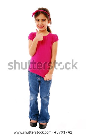 Girl giving the thumbs up isolated on white