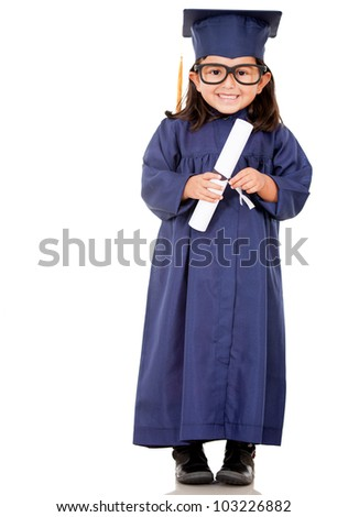 Girl graduating with a graduation gown - isolated over a white background - stock photo