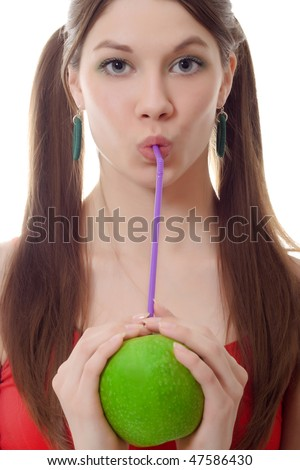 Girl green apple drink fruit cocktail puff - stock photo