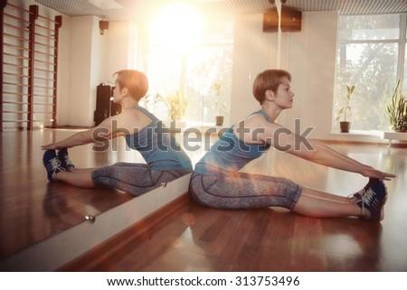 girl gym aerobics workout - stock photo