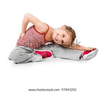 girl gymnast on a white background - stock photo