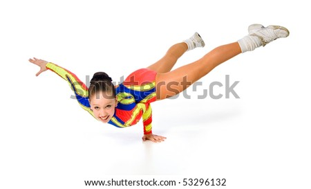 girl gymnast on a white background.sporting exercise.stand on one hand - stock photo