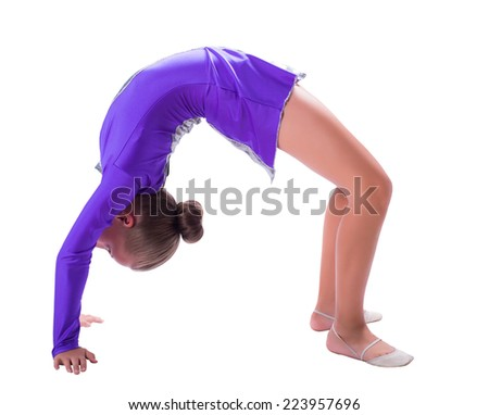 girl gymnast standing on the bridge isolated white background - stock photo