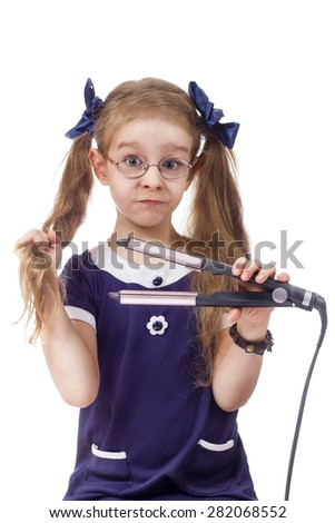 girl hair hair curling white background isolated one - stock photo