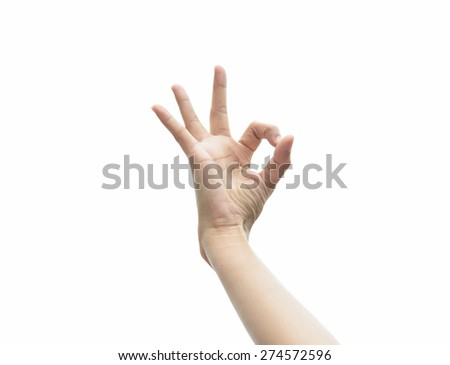 girl hand gesturing ok sign on white background