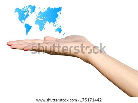 Girl Hand Holding Blue World Map Isolated On White - stock photo