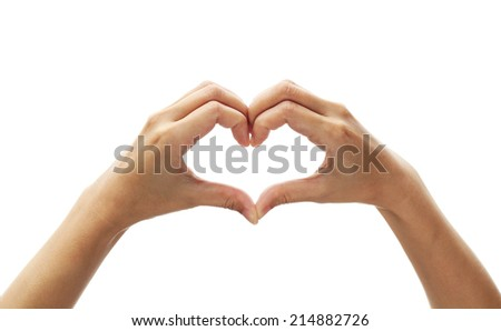 Girl hand in heart form love on white background. - stock photo
