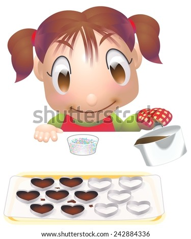 girl handmade chocolate illustration