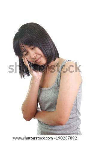 Girl has a headache - stock photo