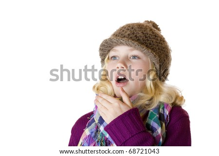Girl has sniff and is sneezing. Isolated on white background. - stock photo