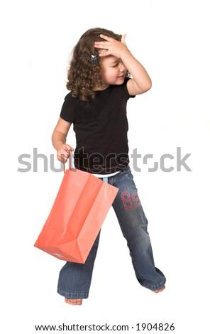 girl hates her gift! over white - stock photo