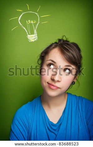 Girl having an idea - stock photo