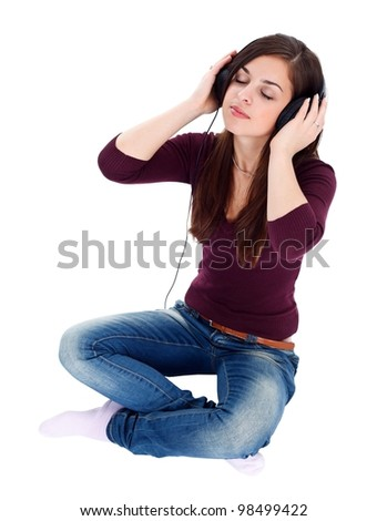 Girl having relaxing moments with headphones